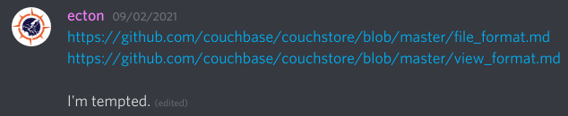 Link to Couchbase docs with the message, I'm tempted.